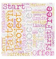 free crochet text background wordcloud concept vector image vector image