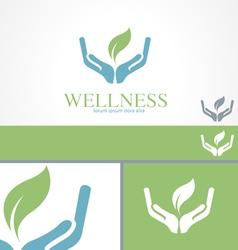 Hands Leaf Green Wellness Health Logo template vector image vector image