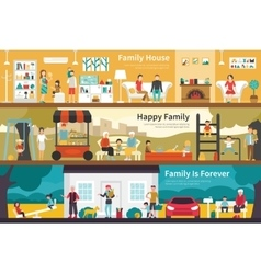 House Happy Family Is Forever flat interior vector image