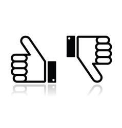 Thumb up and down black icon - social media vector