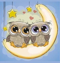 Two cute owls is sitting on the moon vector