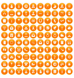 100 religious festival icons set orange vector