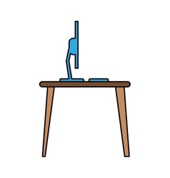blue laptop desk workplace job graphic vector image