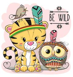 cute cartoon tribal tiger and owl vector image