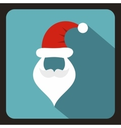 Hat and beard with mustache of Santa Claus icon vector image
