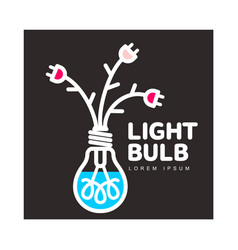 light bulb logo with flowers formed by cables and vector image vector image