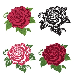 set of multicolored roses vector image