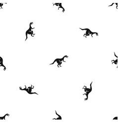 Theropod dinosaur pattern seamless black vector