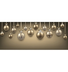Abstract background with golden christmas balls vector image vector image