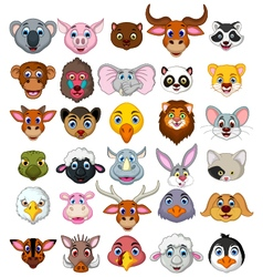 Big animal head cartoon collection vector