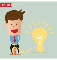 Cartoon Business man pumping idea balloon - vector image vector image
