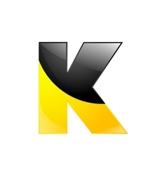 Creative yellow and black symbol letter K for vector image