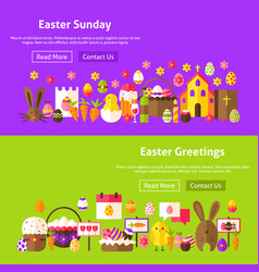 Easter greetings website banners vector