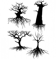four different old tree silhou vector image vector image