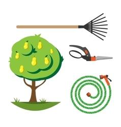 Garden equipment flat set vector image vector image