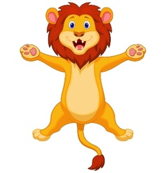 Happy lion cartoon jumping vector image vector image