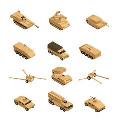 military vehicles isometric icon set vector image