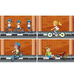 Scenes with kids on bike vector image vector image