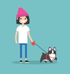 young smiling girl walking the dog flat editable vector image vector image