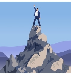 Young Successful businessman winner standing on vector image