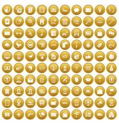 100 smartphone icons set gold vector