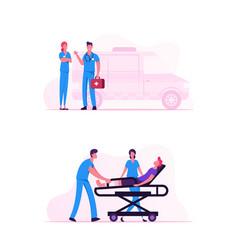 ambulance medical staff service occupation medics vector image
