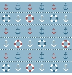 Background with anchors and lifebuoys vector