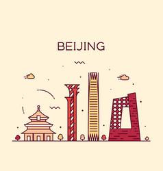 Beijing skyline china linear style city vector