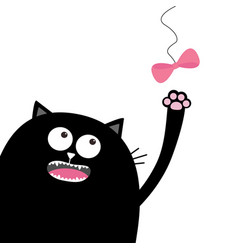 Black cat head looking at pink bow hanging on vector
