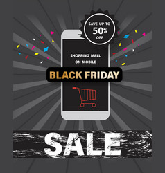black friday sale with shopping mall on mobile vector image