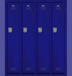 Blue lockers in school or gym vector