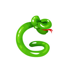 bright green glossy balloon in shape of snake with vector image