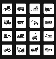 building vehicles icons set squares vector image