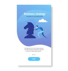 businessman pushing chess figure brainstorming vector image