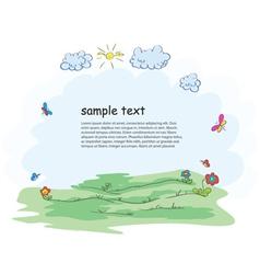 cartoon floral frame vector image