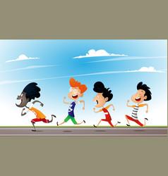 Cartoonmultiracial children run on school vector