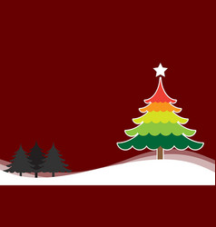Christmas background with christmas tree colorful vector
