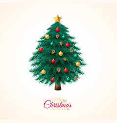 Christmas tree with colorful baubles and vector