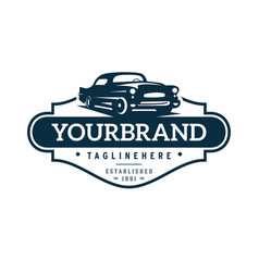 Classic car logo template vector