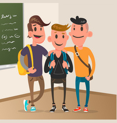 classroom with pupils student character design vector image