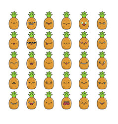 Collection kawaii pineapple emoticons cartoons vector