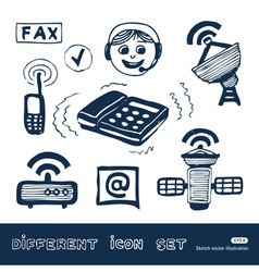 Communication and social network web icons set vector image vector image