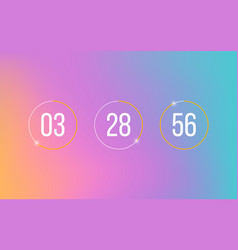 Countdown clock timer on soft gradient background vector