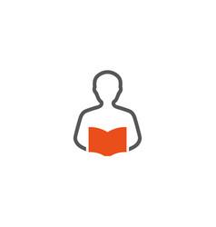 creative abstract human body reading book logo vector image