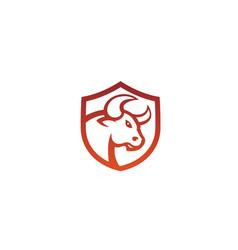 creative red shield bull logo design symbol vector image