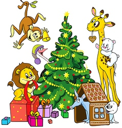 Cute animals celebrate christmas vector
