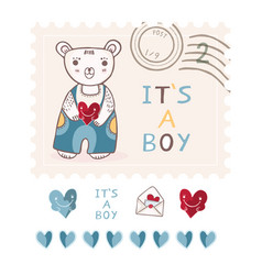 Cute its a boy teddy bear postage stamp vector
