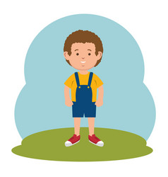 Cute little boy icon vector