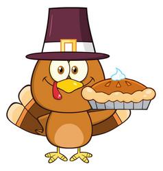 cute pilgrim turkey bird cartoon character vector image