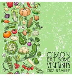 Different vegetables drawings vector